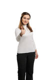 Young beautiful woman thumbs up Stock Photo