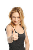 Young beautiful woman thumbs up Stock Photography