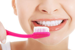 Young beautiful woman with toothbrush and paste. Stock Image