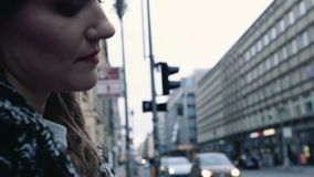 Young beautiful woman travelling with a map in the city. Young beautiful woman traveler with a map thinking where to go. stock video