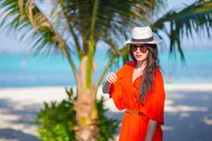 Young beautiful woman during tropical beach Royalty Free Stock Photo