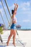 Young beautiful woman during tropical beach Royalty Free Stock Photos