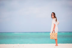 Young beautiful woman during tropical beach vacation Royalty Free Stock Photo
