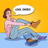 Young Beautiful Woman Trying on New Shoes in a Shop. Seasonal Shopping. Pop Art illustration Stock Image