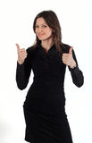 Young beautiful woman with two thumbs up! Royalty Free Stock Image