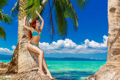 Young beautiful woman under the palm trees on a tropical island. Stock Images