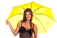 Young beautiful woman under umbrella Royalty Free Stock Photography