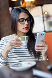 Young beautiful woman using her mobile phone in coffee. Royalty Free Stock Photography
