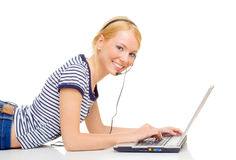 Free Young Beautiful Woman Using Laptop Royalty Free Stock Photos - 9469108