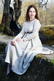Young beautiful woman in vintage dress Stock Photography