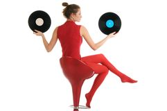Young beautiful woman with vinyl records Stock Photography