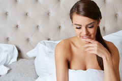 Young beautiful, woman waking up Royalty Free Stock Photo