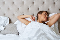 Young beautiful, woman waking up Stock Image
