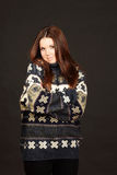 Young beautiful woman in warm sweater Royalty Free Stock Photos