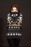 Young beautiful woman in warm sweater Royalty Free Stock Photo