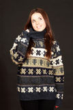 Young beautiful woman in warm sweater Royalty Free Stock Photography
