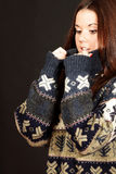 Young beautiful woman in warm sweater Stock Photo