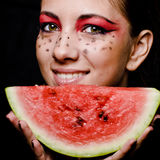 Young beautiful woman and watermelon portrait Royalty Free Stock Image