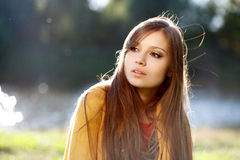 Young beautiful woman wear scarf in her shoulders Royalty Free Stock Image