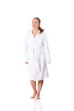Young beautiful woman wearing bathrobe Royalty Free Stock Image