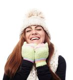 Young beautiful woman wearing cap, scarf and gloves Royalty Free Stock Photography