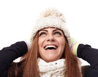 Young beautiful woman wearing cap, scarf and gloves Royalty Free Stock Images