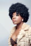 Young beautiful woman wearing a fur coat Royalty Free Stock Photos
