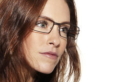 Young beautiful woman wearing glasses, close up Royalty Free Stock Photo