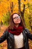 Young beautiful woman wearing glasses is smiling stock image
