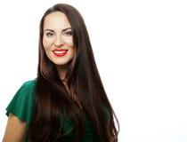 Young beautiful woman wearing green dress Royalty Free Stock Image