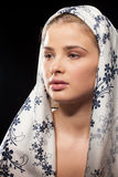 Young beautiful woman wearing a headscarf royalty free stock photo
