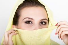 Young beautiful woman wearing hijab, stylish female portrait. Stock Photos