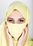 Young beautiful woman wearing hijab, stylish female portrait. Stock Image