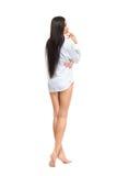 Young beautiful woman wearing men's shirt Royalty Free Stock Image