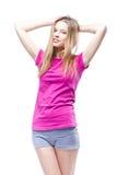 Young beautiful woman wearing pink t-shirt Stock Photos