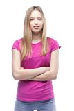 Young beautiful woman wearing pink t-shirt Royalty Free Stock Images