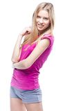 Young beautiful woman wearing pink t-shirt Royalty Free Stock Photos