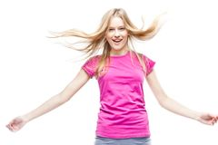 Young beautiful woman wearing pink t-shirt Stock Images