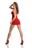 Young Beautiful woman wearing a red dress Stock Photos