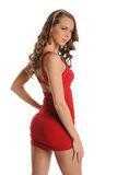 Young Beautiful Woman wearing a red dress Stock Photo
