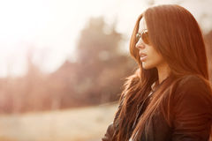 Young beautiful woman wearing sunglasses  - closeup Stock Image