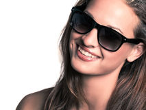 Young beautiful woman wearing sunglasses Stock Photos
