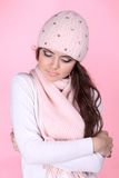 Young Beautiful woman wearing winter clothes Royalty Free Stock Photo
