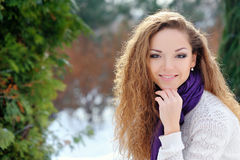 Young beautiful woman wearing winter clothing Royalty Free Stock Images
