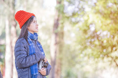 Young beautiful woman wearing winter clothing Royalty Free Stock Photos