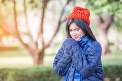 Young beautiful woman wearing winter clothing Stock Image