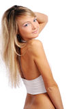 Young and beautiful woman on white Stock Image