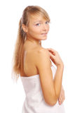 Young and beautiful woman on white Royalty Free Stock Photos