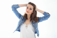 Young beautiful woman on white background stock images