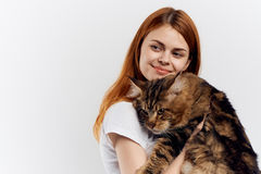 Young beautiful woman on white  background holds a cat, pets, emotions Royalty Free Stock Photo